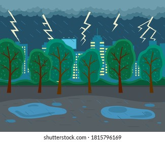 Rainy weather, lightning, thunder, storm. City park, ominous atmosphere, evening. Thunderstorm clouds, heavy rain. Autumn weather. Stay home. Skyscrapers with lighted windows on the background