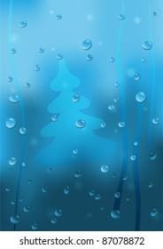 Rainy Winter Window Background eps10