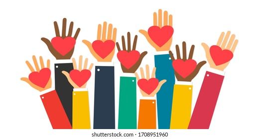 Raise hands. Hand gesturing. Arms raised with heart support. Volunteering. Voting. Vector illustration. EPS 10