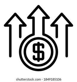 Raise money icon. Outline raise money vector icon for web design isolated on white background