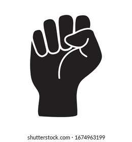 Raised black fist vecor icon. Victory, rebel symbol in protest or riot gesture symbol. Simple flat black and white pictogram illustration
