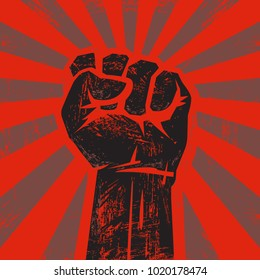 Raised black hand with clenched fist on grunge background with sun rays. Retro style poster. Concept of protest, strength, freedom,  revolution, rebel, revolt.  Vector illustration isolated on red.