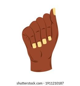 raised black hand female fist, white background vector illustration