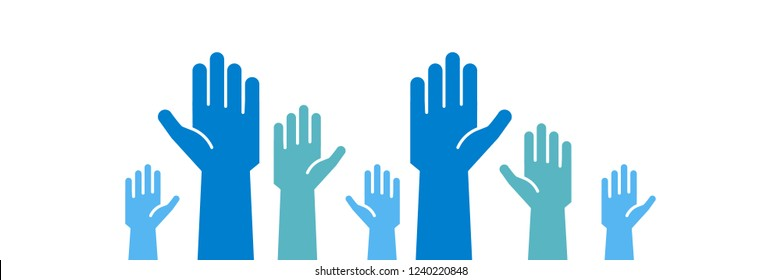 Raised blue hands volunteering to help a good cause. Vector trendy flat icon for volunteer, charity, donation and contribution concepts