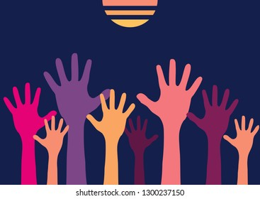 Raised up children's border with colorful silhouettes hands. Concept design group is the crowd willing to help. Isolated on a white background. Vector illustration.