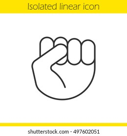 Raised fist gesture linear icon. Thin line illustration. Squeezed hand. Contour symbol. Vector isolated outline drawing