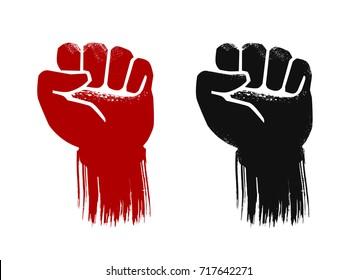 Raised fist, grunge. Force, strength, power symbol. Vector illustration