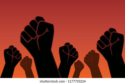 Raised fist hand protest in flat icon design on red color background