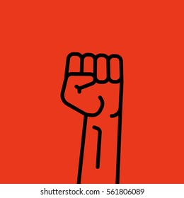 Raised Fist Hand Protest Vector Icon