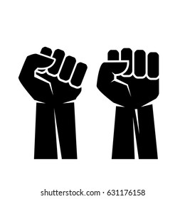 Raised fist hand vector eps icon illustration isolated on white background
