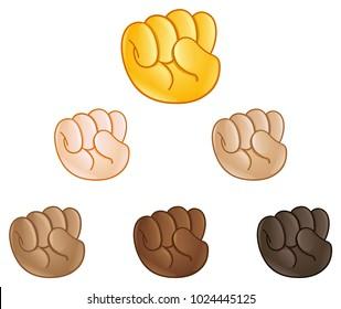 Raised fist pump hand emoji set of various skin tones