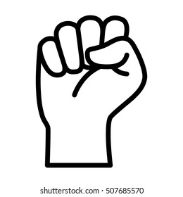 Raised fist - symbol of victory, strength, power and solidarity line art icon for apps and websites