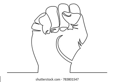 Raised fist - symbol of victory, strength, power and solidarity line art icon for apps and websites. Continuous line drawing. Vector silhouette