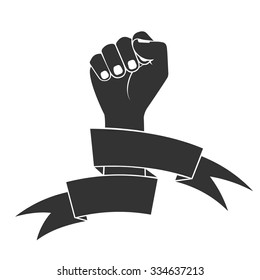 The raised fist in tapes. a fight symbol for freedom.