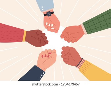 Raised fists. Successful team hands up to celebrate win. Diverse community fight and protest. Partnership, cooperation work vector concept