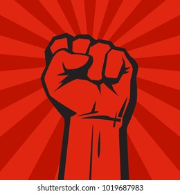 Raised hand with clenched fist on grunge background with sun rays. Retro style poster. Concept of protest, strength, freedom,  revolution, rebel, revolt.  Vector illustration isolated on red.