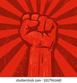 Raised hand with clenched fist. Retro style poster. Protest, strength, freedom,  revolution, rebel, revolt concept. Vector illustration isolated on red grunge background with sun rays.