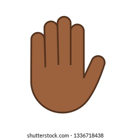Raised hand color icon. High five emoji. Stop hand gesture. Palm. Isolated vector illustration
