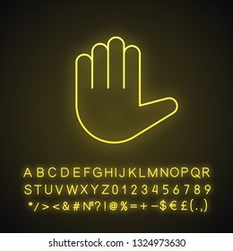 Raised hand emoji neon light icon. High five. Stop hand gesture. Palm. Counting five. Glowing sign with alphabet, numbers and symbols. Vector isolated illustration