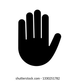 Raised hand glyph icon. Silhouette symbol. High five emoji. Stop hand gesture. Palm. Negative space. Vector isolated illustration
