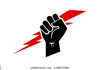 Raised hand holding a lightning bolt icon. A clenched fist in black and red. Symbol of energy, strength, power, force, freedom and victory. Solidarity day. Black History Month. Anger icon.