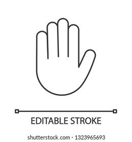 Raised hand linear icon. Thin line illustration. High five emoji. Stop hand gesture. Palm. Contour symbol. Vector isolated outline drawing. Editable stroke
