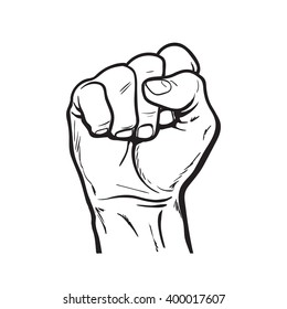raised hand showing a fist, a symbol of strength and superiority, success, struggle for its dip, sketch black and white illustration, vector