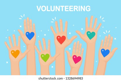 Raised hands with colorful heart. Volunteering, charity, donate blood concept. Thank for care. Vote of crowd. Vector flat design