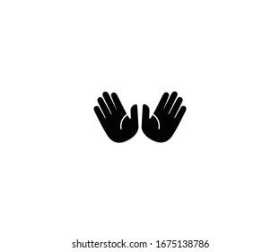 Raised hands emoji vector isolated icon illustration. Open hands emoticon