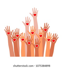 Raised hands with heart icon. Raised hands up together with different skin tone of many peoples concept of democracies, volunteer, or racial concept design by vector illustrator