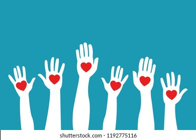 Raised hands holding giving red color hearts isolated on blue background. Charity volunteering elections voting concept. Eps 10 Vector illustration, Minimalist white blue flat business style modern.