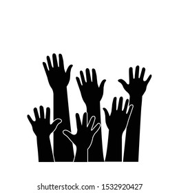 Raised hands icon isolated on white background. Vector illustration.