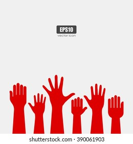 Raised hands icon, vector poster