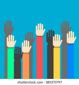 Raised hands on blue background flat style