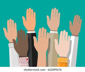 Raised up hands. People vote hands. Volunteering and election concept. Vector illustration in flat style