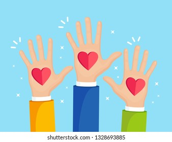 Raised hands with red heart. Volunteering, charity, donate blood concept. Thank for care. Vote of crowd. Vector flat design