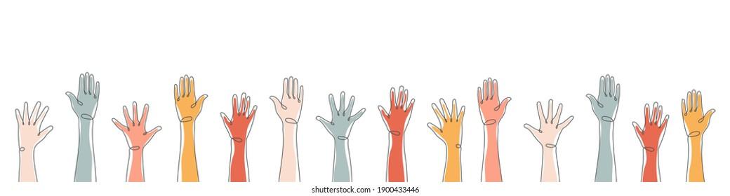 Raised hands. Teamwork, collaboration, voting, volunteering concert. Applause hand drawn. Vector illustration