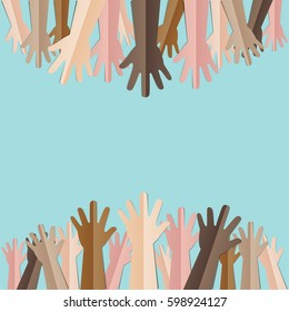 Raised hands up together with different skin tone of many peoples concept of democrazy, volunteer, or racial concept design by vector illustrator