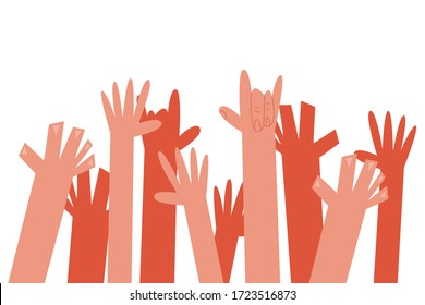 Raised hands up vector cartoon illustration isolated on a white background.