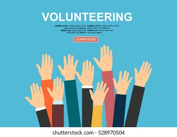 Raised hands volunteering vector concept