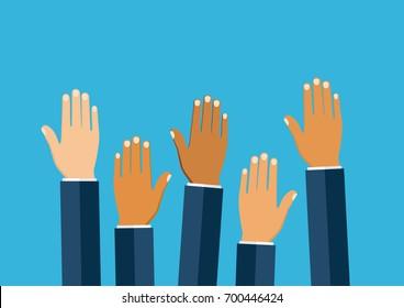 Raised hands volunteering vector concept