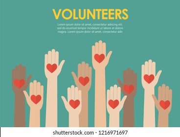 Raised hands volunteers concept. Vector illustration