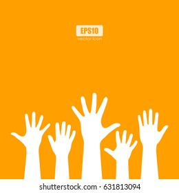 Raised human hands silhouettes vector eps poster card illustration