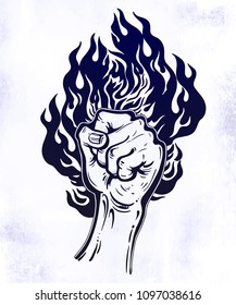Raised inked hand as a fist gesture with fire burning. Concept of a riot strike, protest fighter symbol. Power sign of freedom revolution. Rights activism, rebellion. Isolated vector illustration.