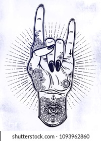 Raised inked hand as a rock and roll or punk sign gesture with black nailsc and rays of energy around. Concept of a music concert, rabel symbol. Isolated vector illustration. Flash tattoo style art.