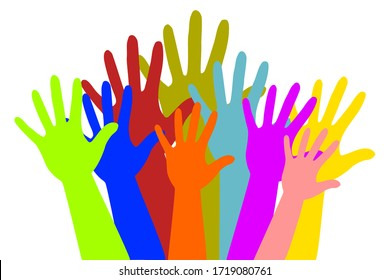 Raised many color hands on a white background. The concept of charity, volunteer, kindnees, election, voting, conert concept.