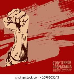 Raised protest human fist. Retro revolution grunge poster design