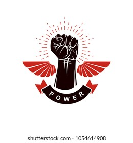 Raised strong clenched fist winged logo. Best fighter vector symbol, champion concept.