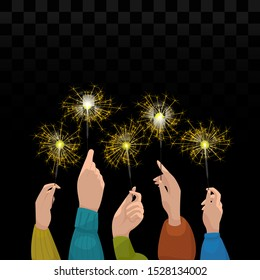 Raised their hands with sparklers. Conceptual vector on a dark background.