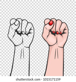 Raised women s fist isolated - symbol unity or solidarity, with oppressed people and women s rights. Feminism, protest, rebel, revolution or strike sign. Template for art posters, backgrounds etc